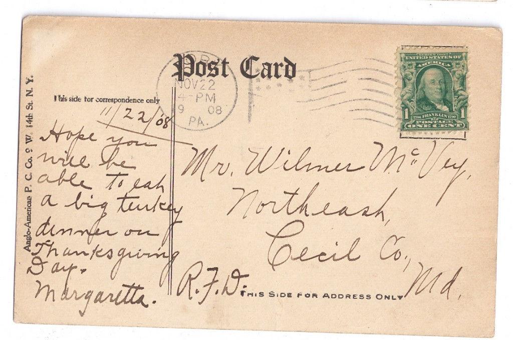 Thanksgiving Postcard Turkey Romantic Vintage 1908 Anglo American Co