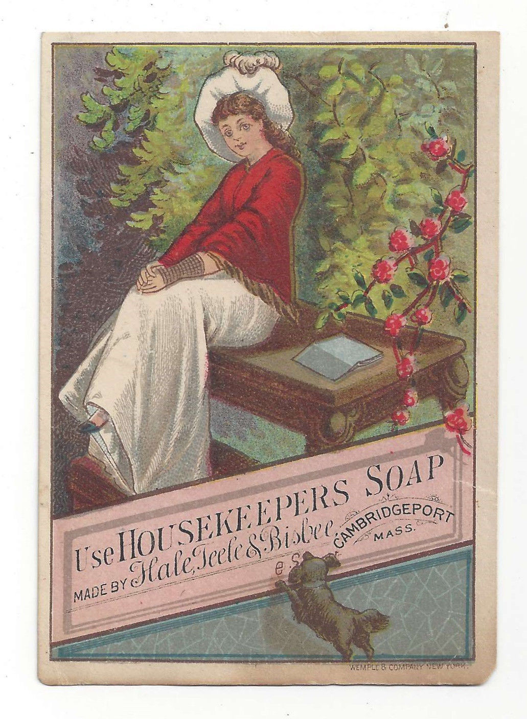 VictorianTrade Card Housekeepers Soap Ad Cambridgeport MA Hale Teele Bisbee