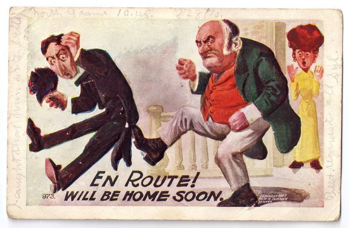 Vintage Comic Kick Postcard Humor Tammen En Route Home Soon