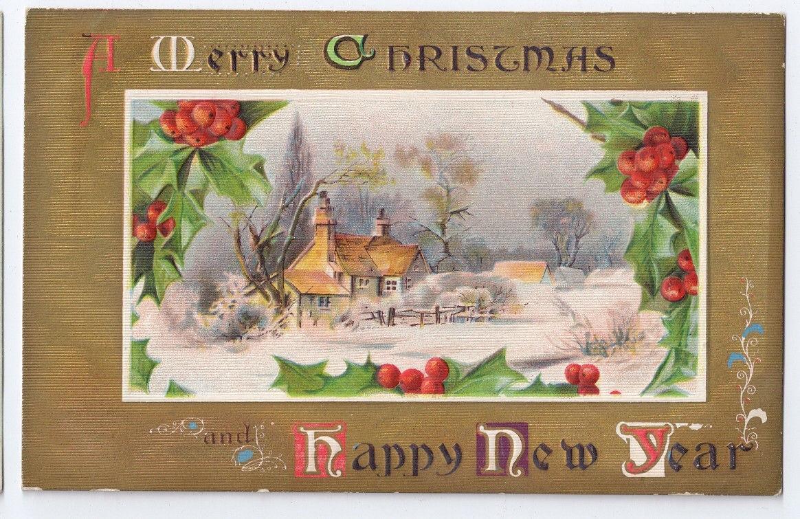 Vintage Christmas Postcard Gold Moire Snow Scene