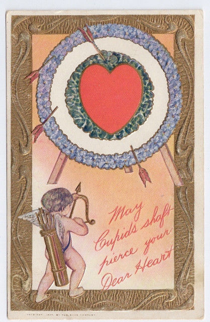 Vtg Valentine Postcard Cupid Bow Arrow Target Embossed Gold The Rose Co. 1907