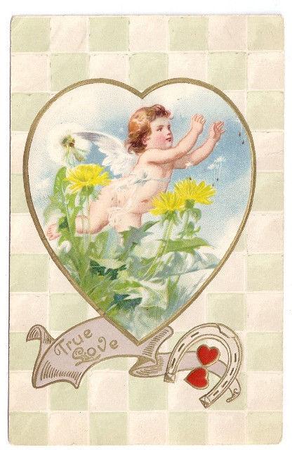 Vtg Valentine Postcard Cupid Dandelions Horseshoes True Love Winsch Back 1910