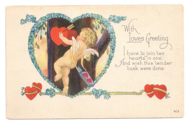 Valentine Postcard Cupid Poem Bow Arrow Forget me not Heart Arts and Crafts Era