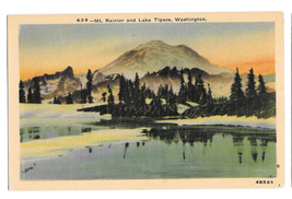 WA Mt. Ranier and Lake Tipsoe Vtg C P Johnston Linen Postcard Washington - $6.36