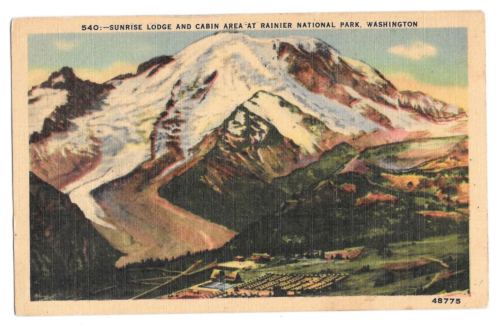 WA Ranier National Park Sunrise Lodge Cabin Area Vtg Linen Postcard Washington