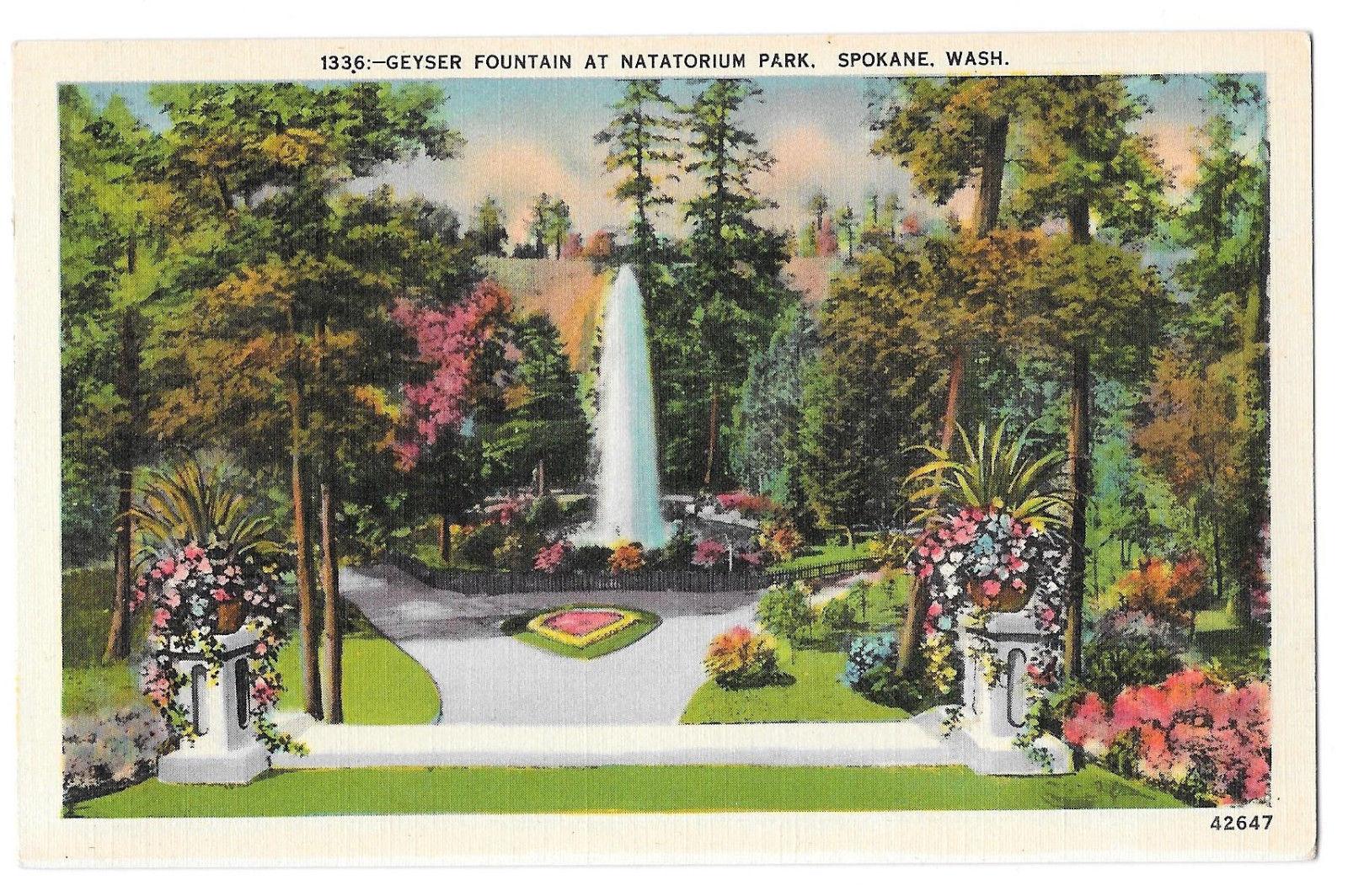 WA Spokane Natatorium Park Geyser Fountain Vtg Linen Postcard Washington