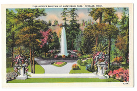 WA Spokane Natatorium Park Geyser Fountain Vtg Linen Postcard Washington - $4.74