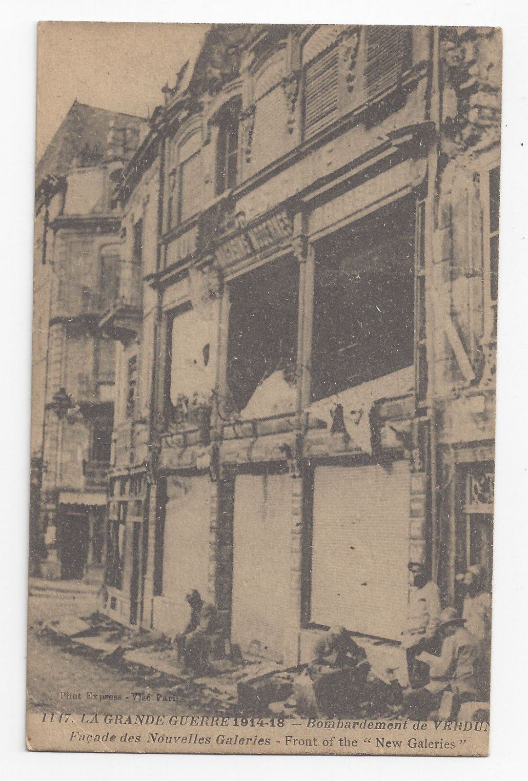 WWI France Verdun after Bombardment Facade New Galeries c 1918 Postcard