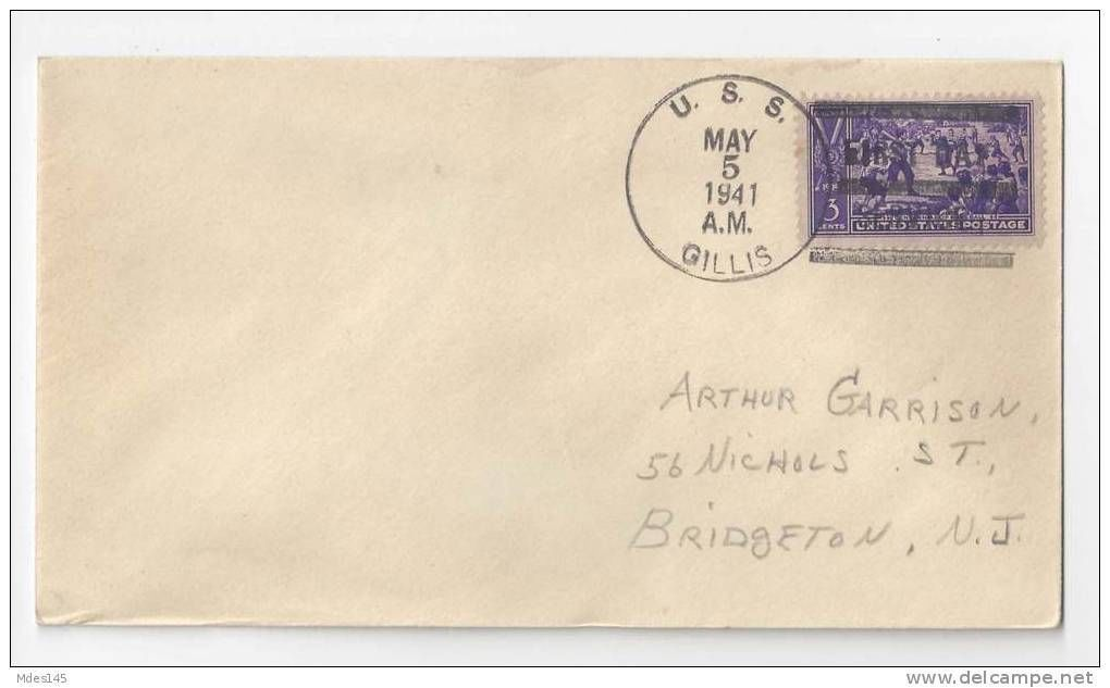 WWII Naval Cover USS Gillis AVD-12 1941 FDPS First Day Postal Service