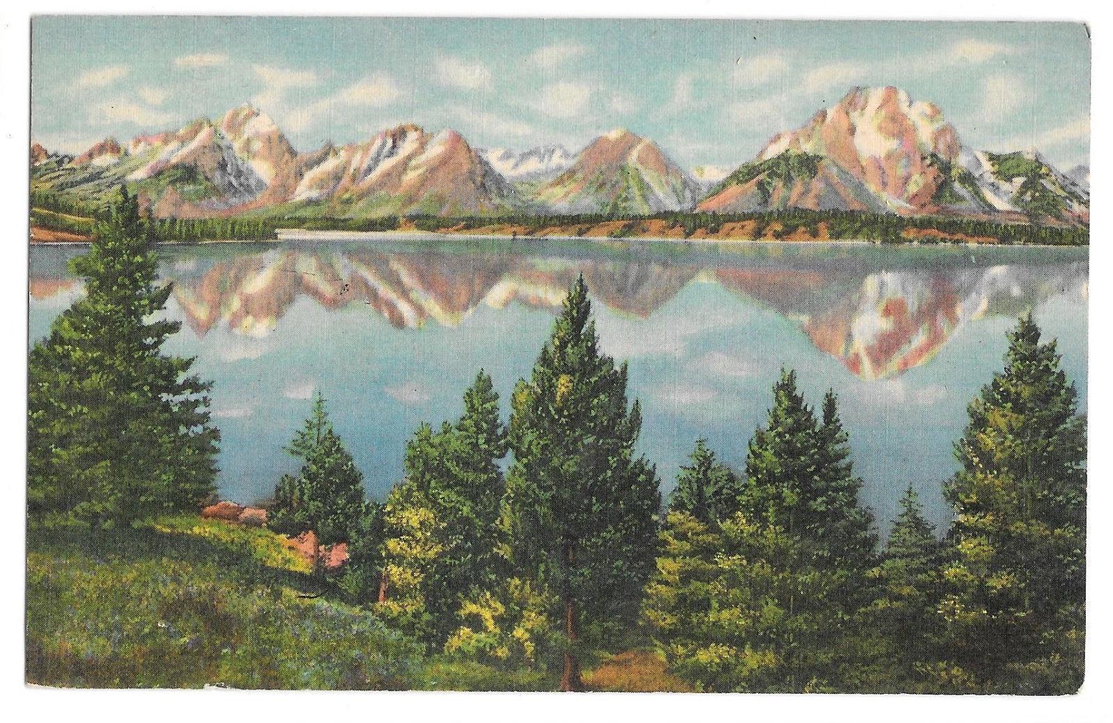 WY Teton National Park Peaks Reflected Jackson Lake Vtg Linen Postcard 1954