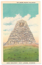 WY Laramie Ames Monument Union Pacific Railroad Vtg Linen Postcard Wyoming - $4.74