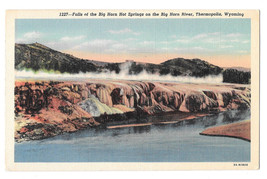 WY Thermopolis Big Horn River Hot Springs Falls Vtg Linen Postcard 1950 - $4.99