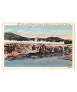 WY Thermopolis Big Horn River Hot Springs Falls Vtg Linen Postcard 1950 - $4.99
