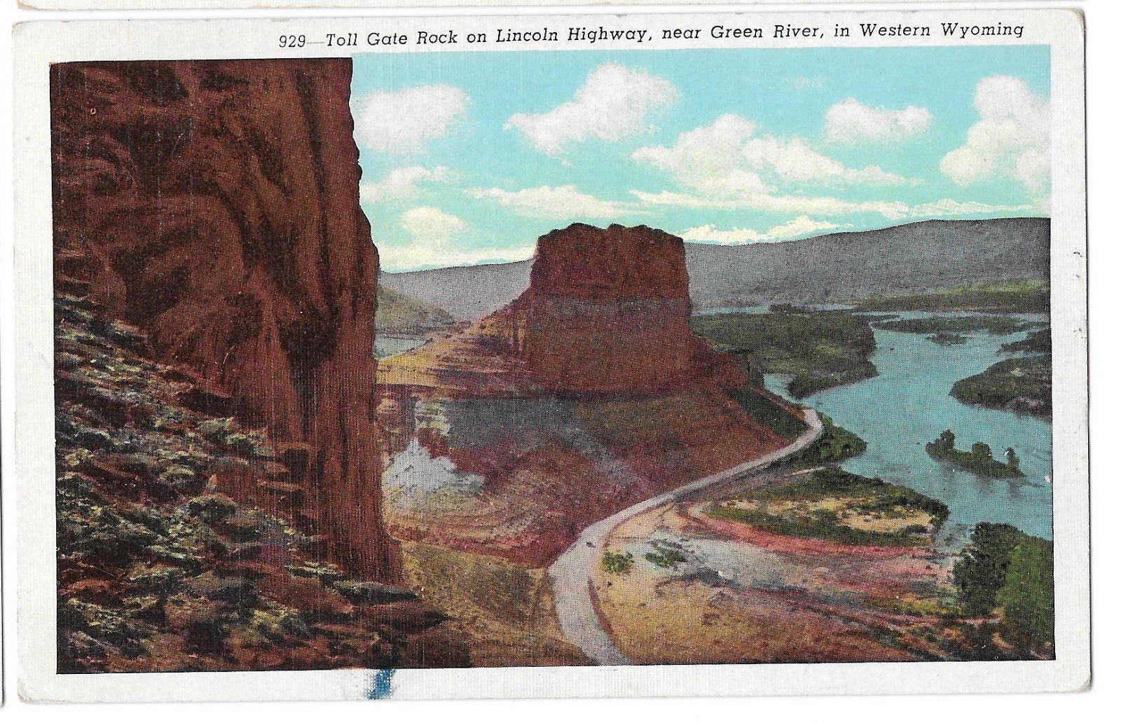 WY Green River Toll Gate Rock Lincoln Highway Vtg Sanborn Postcard Wyoming