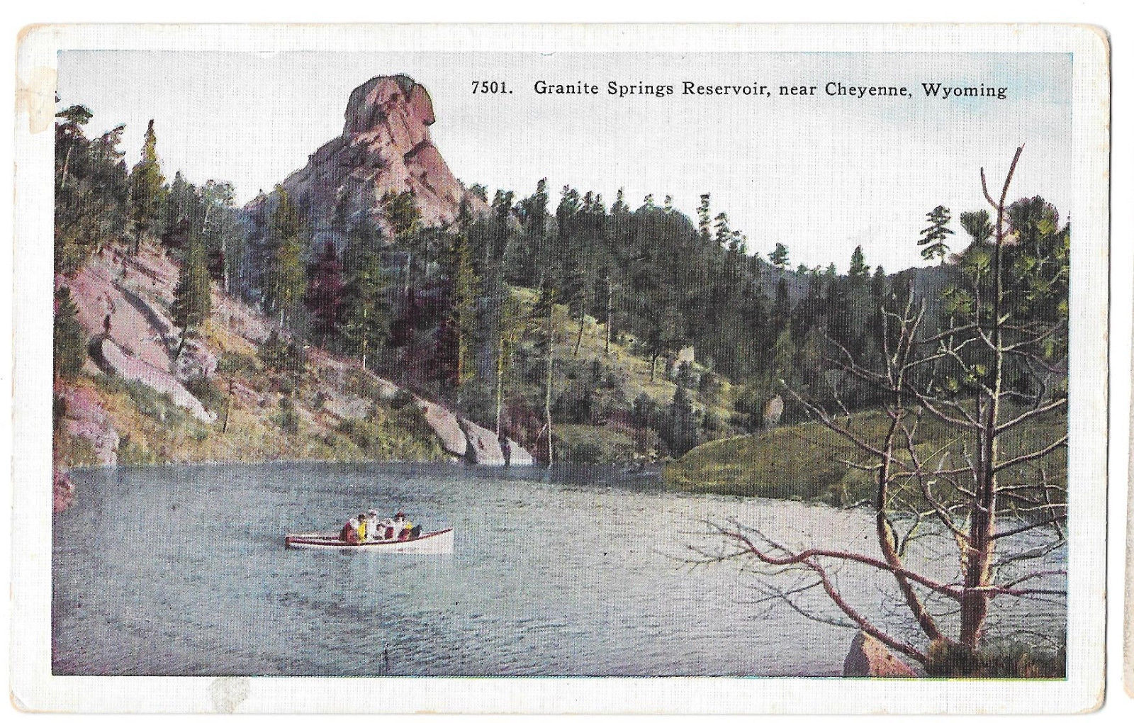 WY Cheyenne Granite Springs Reservoir Boat Vtg H H Tammen Postcard Wyoming