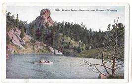 WY Cheyenne Granite Springs Reservoir Boat Vtg H H Tammen Postcard Wyoming - $4.74