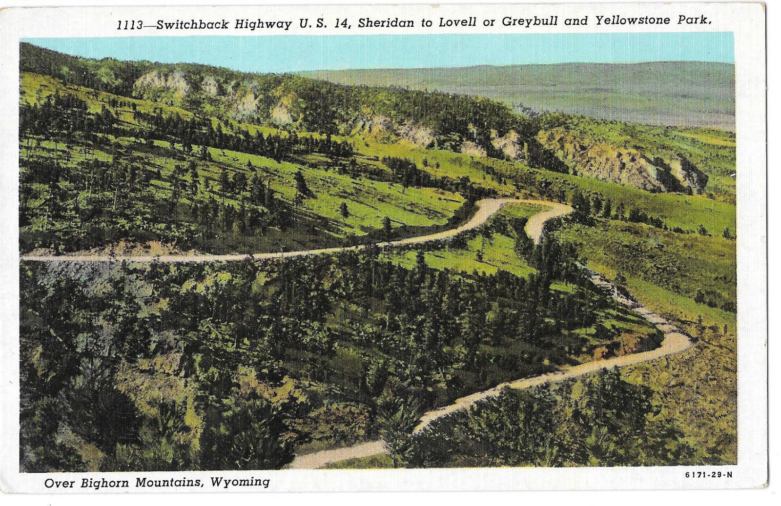 WY Switchback Highway US 14 Bighorn Mountains Vtg Sanborn Linen Postcard
