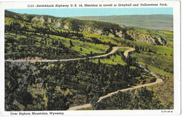 WY Switchback Highway US 14 Bighorn Mountains Vtg Sanborn Linen Postcard - $4.74