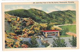 WY Thermopolis Birds Eye View o the Big Hot Spring Vtg Linen Postcard Wy... - $6.36