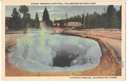 WY Yellowstone Morning Glory Pool Vtg Haynes Linen Postcard Wyoming - $6.45