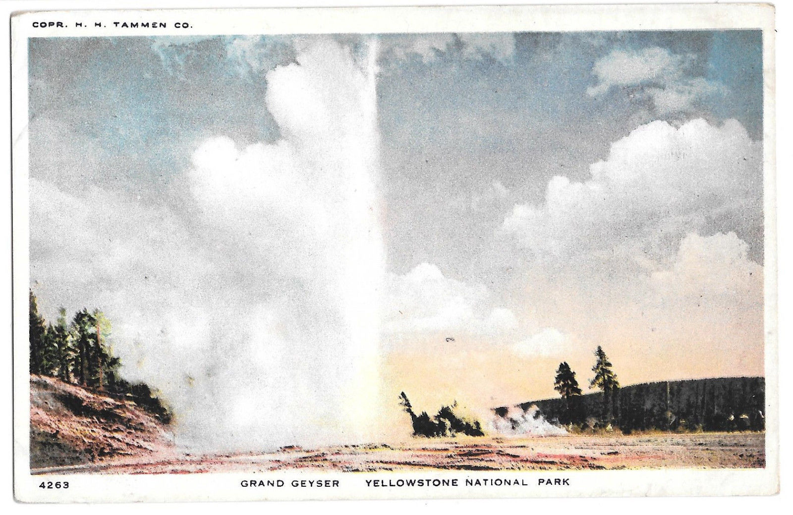 WY Yellowstone National Park Grand Geyser Vtg H H Tammen Postcard Wyoming