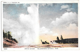 WY Yellowstone National Park Grand Geyser Vtg H H Tammen Postcard Wyoming - $4.74
