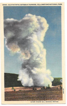 WY Yellowstone Old Faithful Geyser at Sunrise Vtg Haynes Linen Postcard - $4.74