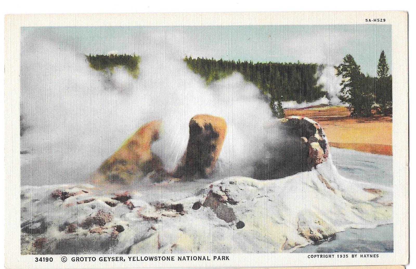 WY Yellowstone Park Grotto Geyser Vtg Haynes Linen Postcard Wyoming