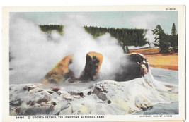 WY Yellowstone Park Grotto Geyser Vtg Haynes Linen Postcard Wyoming - $4.74