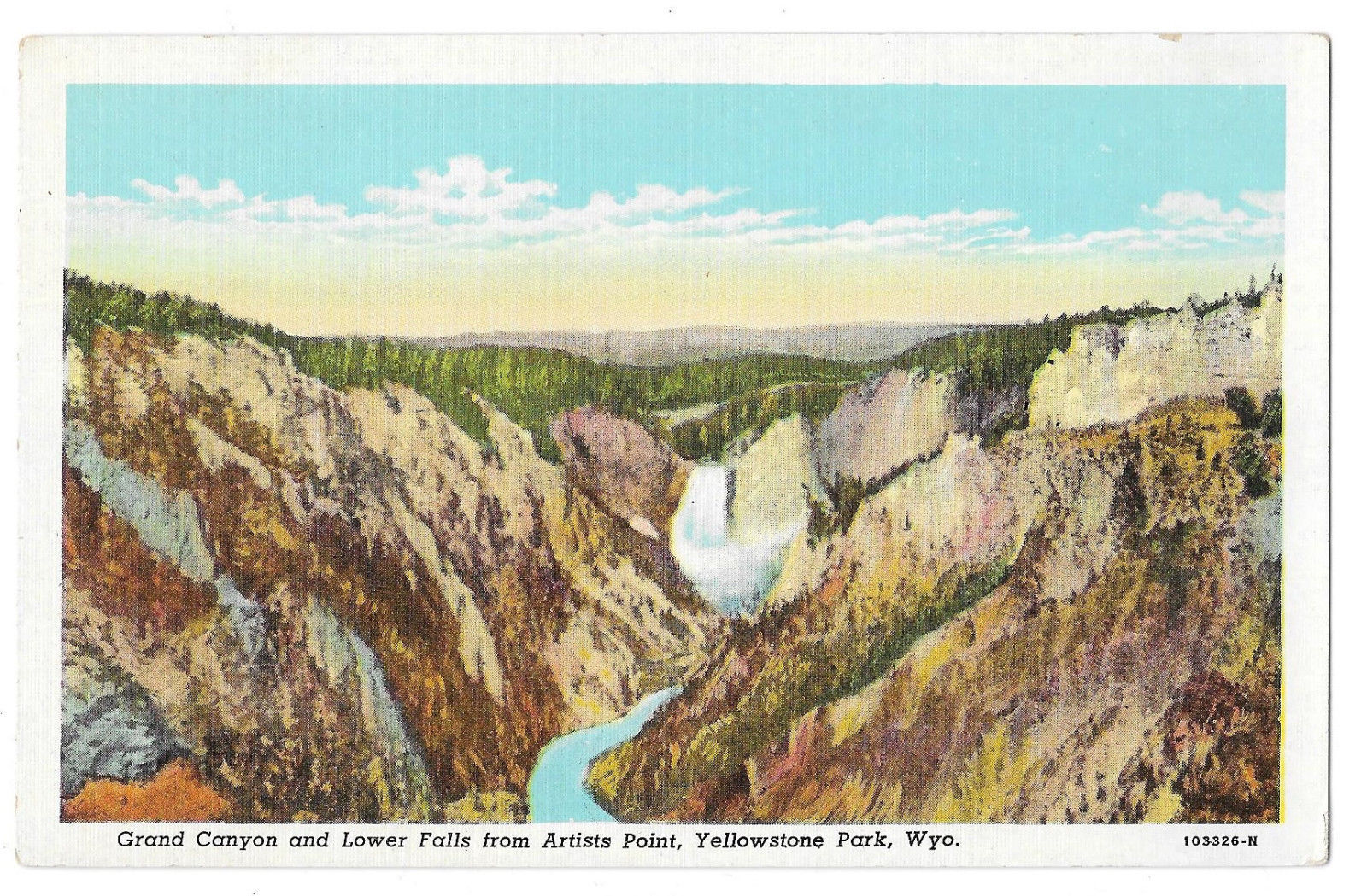 WY Yellowstone Park Grand Canyon Lower Falls Artist Point Vtg S P Eagle Postcard