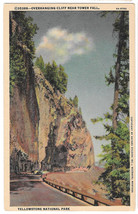 WY Yellowstone Park Overhanging Cliff Near Tower Fall Vtg Haynes Linen P... - $4.74