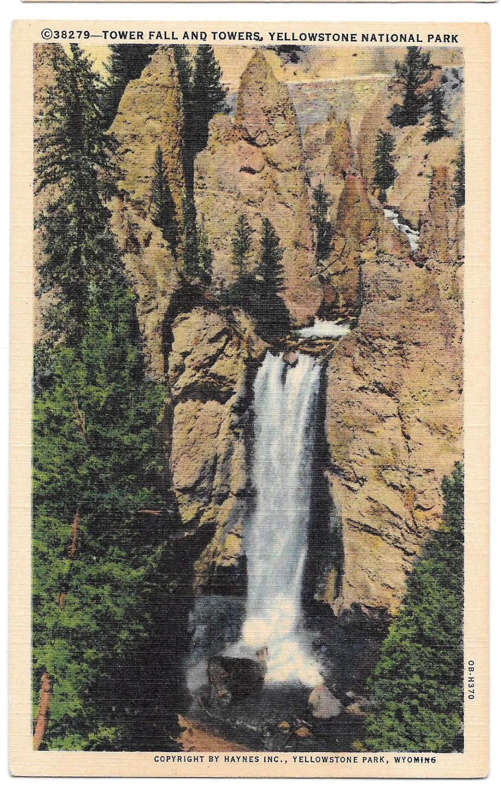 WY Yellowstone Park Tower Fall and Towers Vintage Haynes Linen Postcard