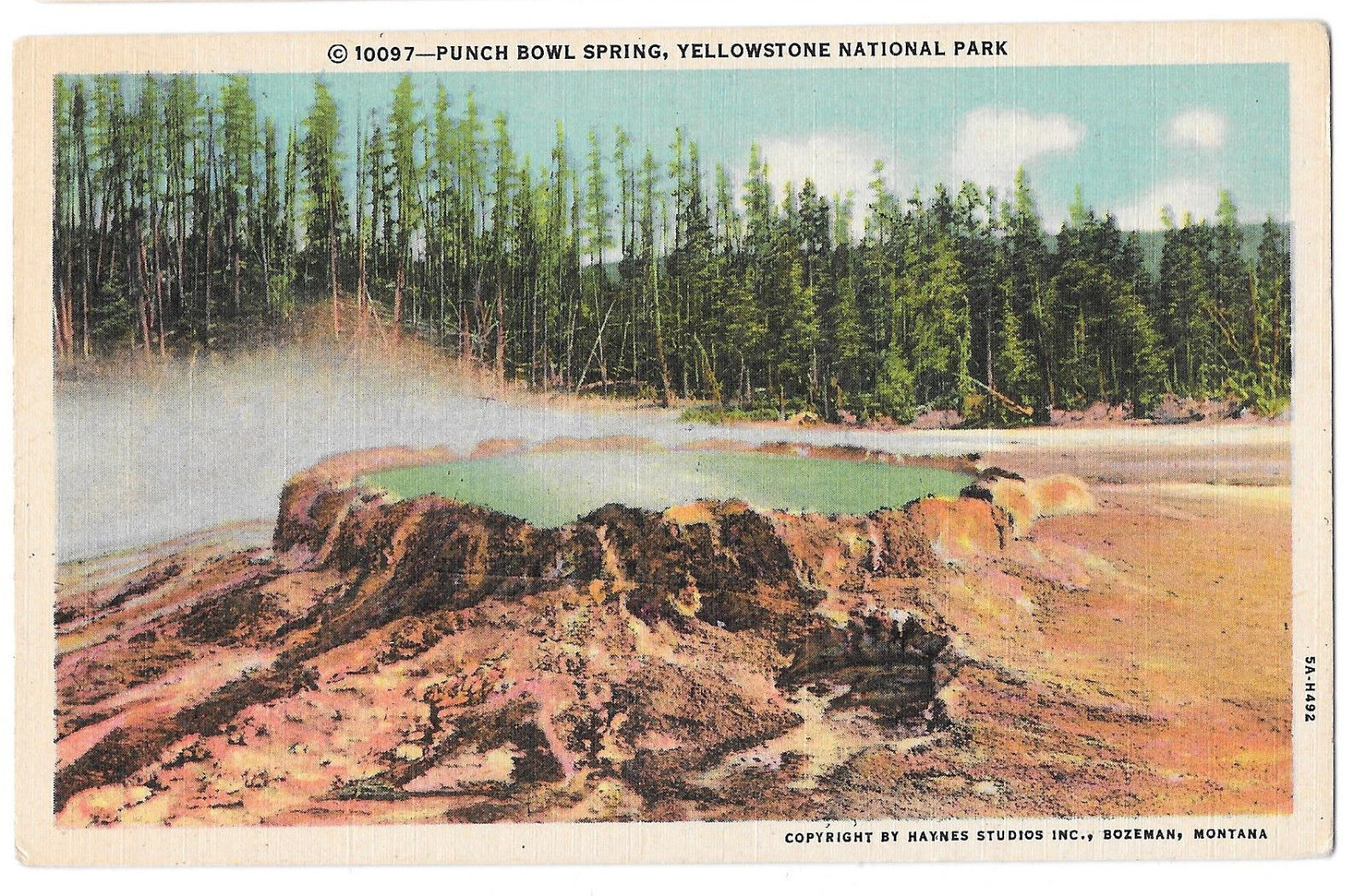 WY Yellowstone Punch Bowl Spring Vtg Haynes Linen Postcard Wyoming