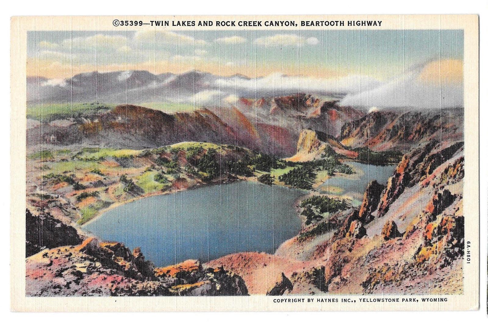 WY Yellowstone Park Twin Lakes Rock Creek Canyon Beartooth Highway Vtg Postcard