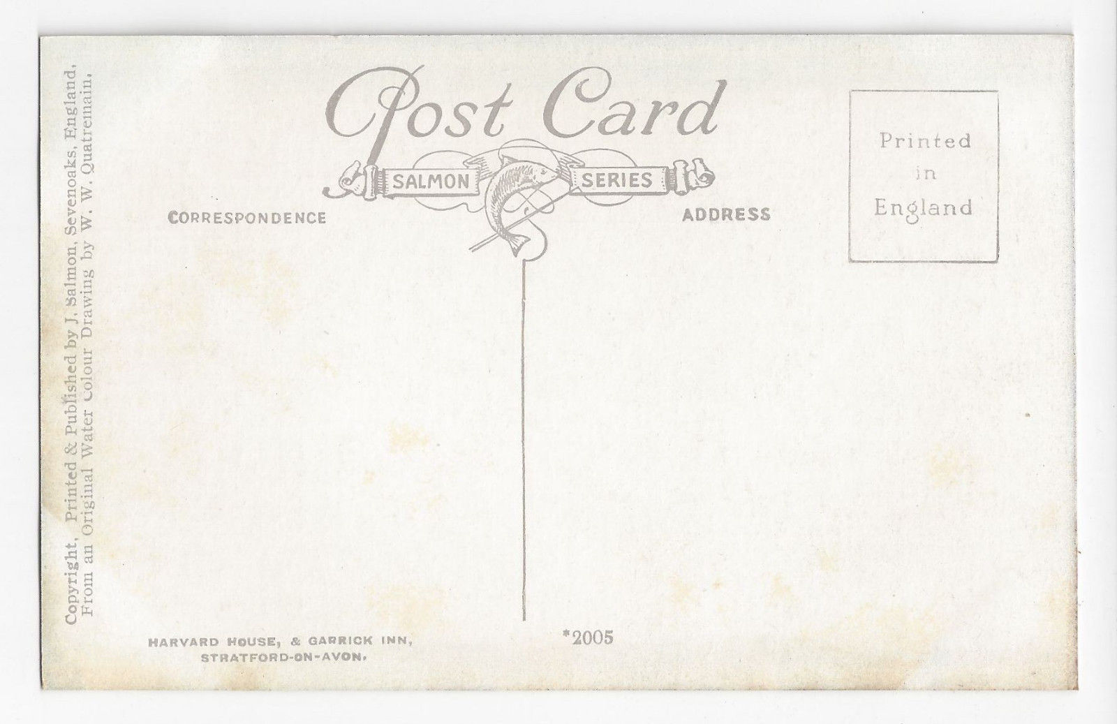 UK Stratford on Avon Harvard House Garrick Inn J Salmon W.W. Quatremain Postcard
