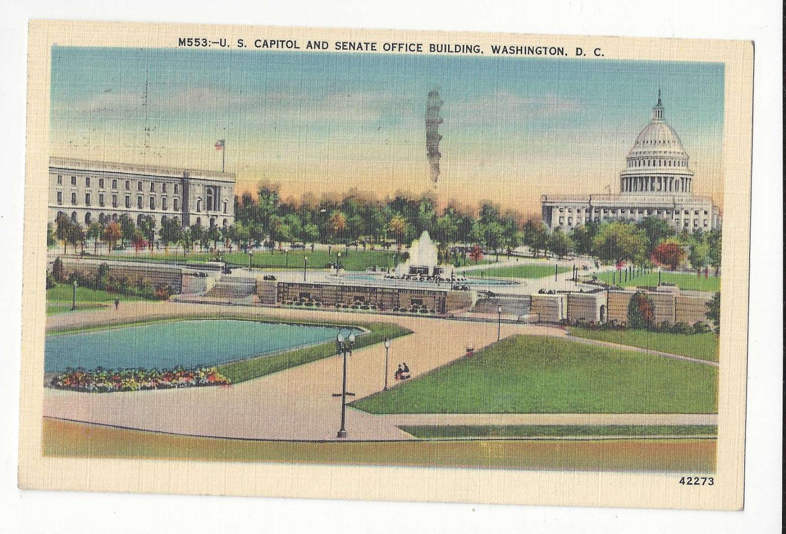 Washington DC Capitol and Senate Office Building Vtg BS Reynolds Linen Postcard