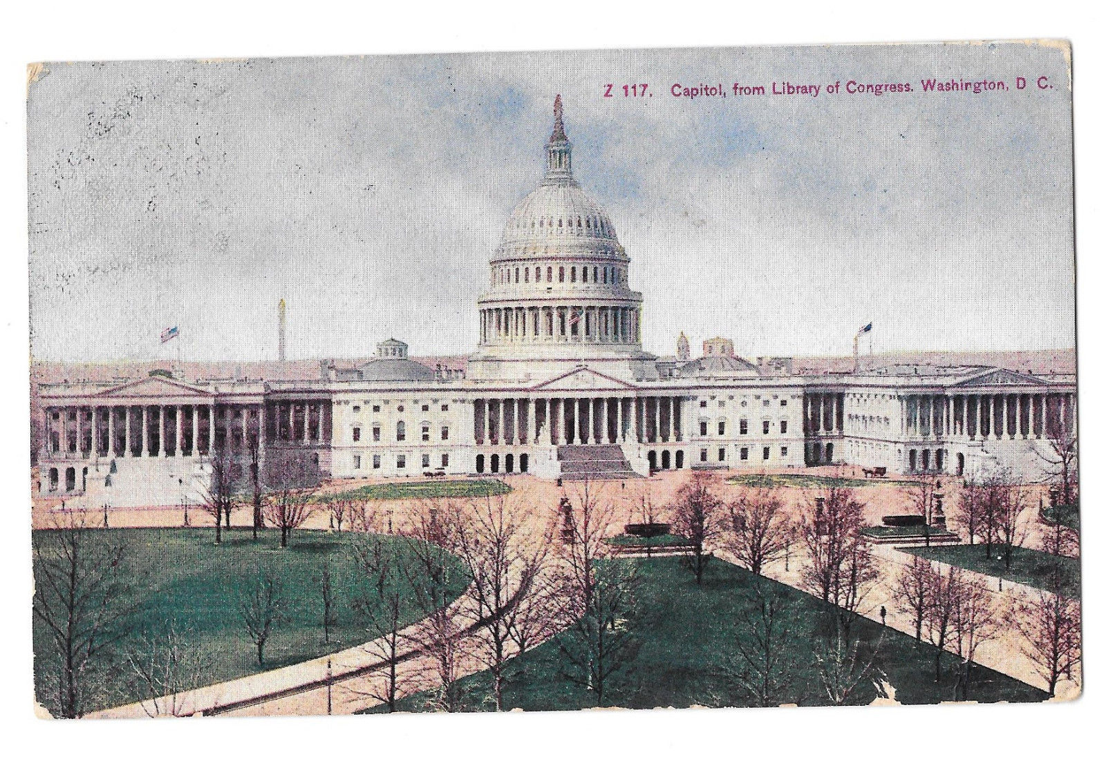 Washington DC The Capitol from Library of Congress Vtg Postcard 1908