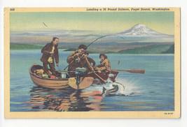 Washington Puget Sound Fishing Landing Salmon Vtg Curteich Linen Postcard - $4.74