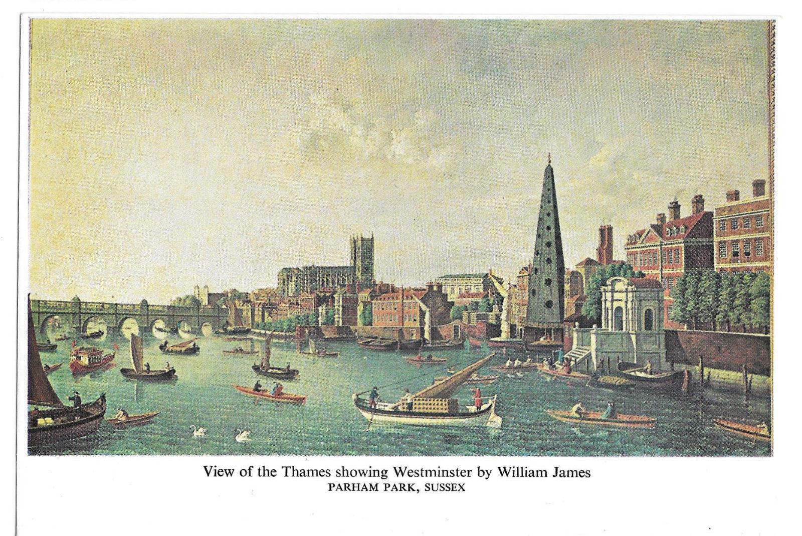 William James View of Thames Westminster Parham Park Sussex UK Vtg Postcard 4X6