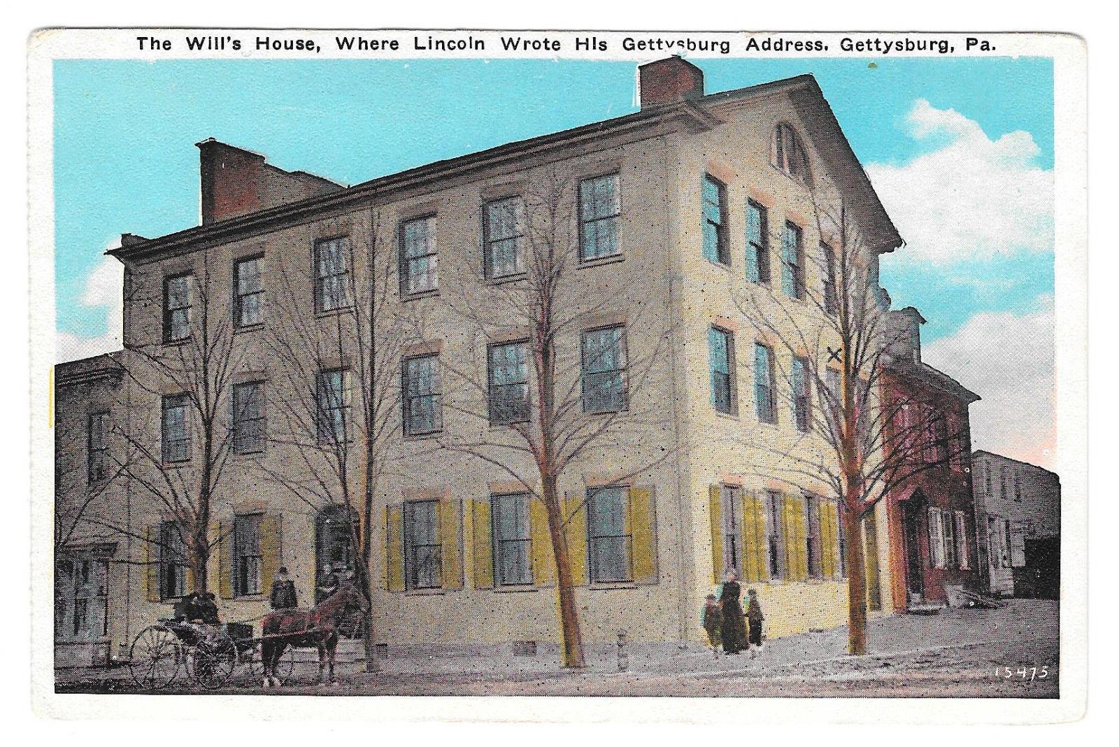 Wills House Lincoln Gettysburg Address Civil War Vtg Blocher Postcard