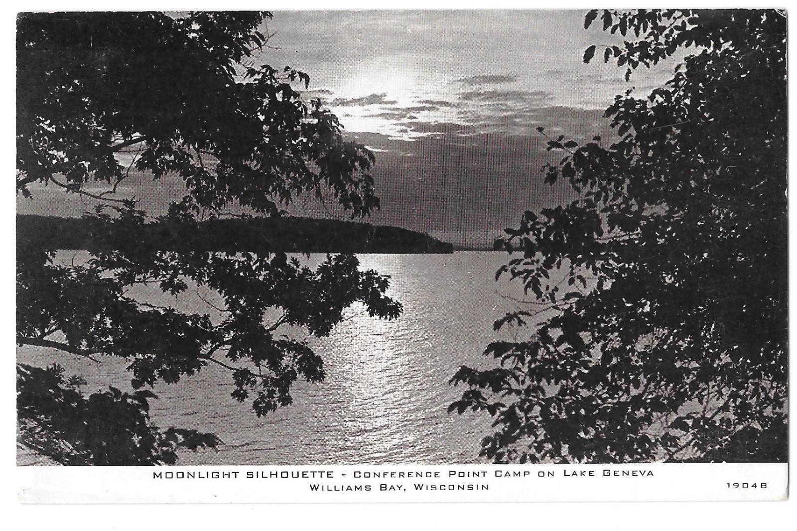 Williams Bay Wisconsin Moonlight Conference Point Camp Lake Geneva Vtg Postcard
