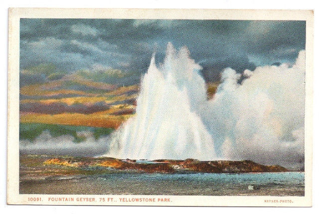 Yellowstone National Park Fountain Geyser 75 ft Vtg J.E. Haynes Postcard