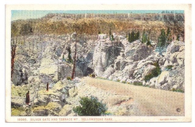 Yellowstone National Park Silver Gate and Terrace Vtg J.E. Haynes Postcard