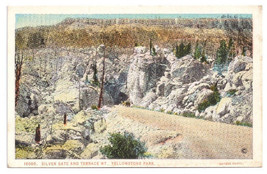 Yellowstone National Park Silver Gate and Terrace Vtg J.E. Haynes Postcard - $4.74