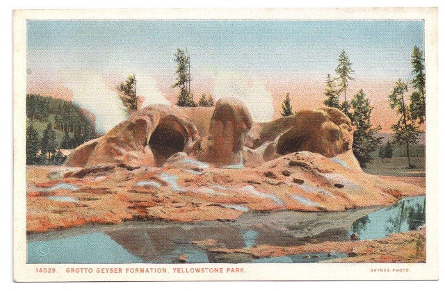 Yellowstone National Park Grotto Geyser Vtg J.E. Haynes Postcard