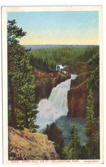 Yellowstone National Park Upper Fall Vtg J.E. Haynes Postcard