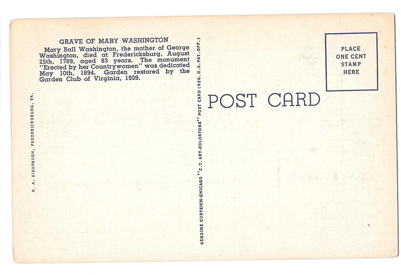VA Fredericksburg Mary Ball Washington Memorial Monument Vtg Linen Postcard