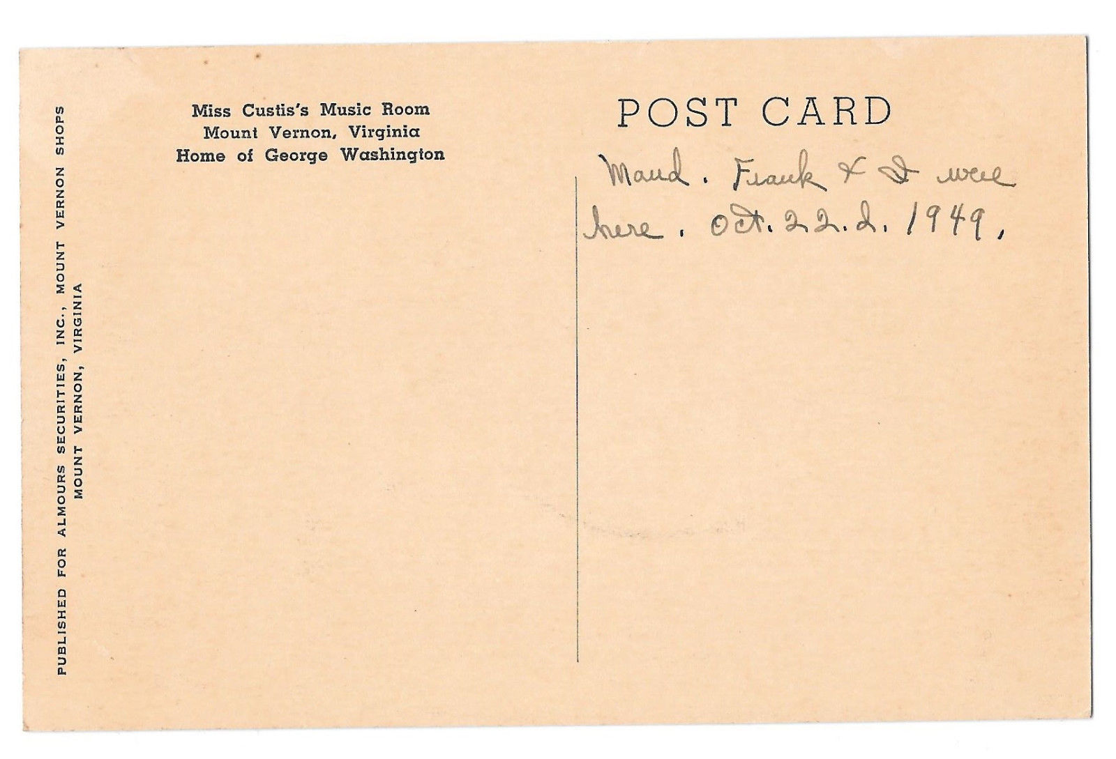 VA Mount Vernon Shops Miss Custis Music Room Vtg Almours Securities Postcard