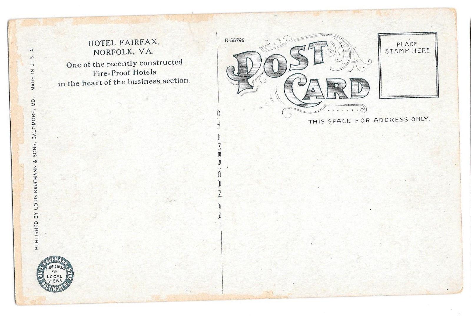 VA Norfolk Hotel Fairfax Cars Vtg Louis Kaufmann Postcard
