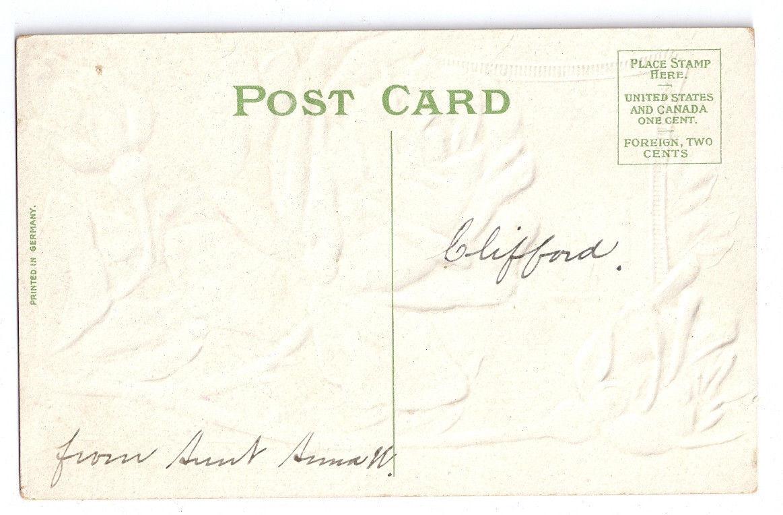 Vintage Birthday Postcard Embossed Deep Red Roses Gilt Sailboat